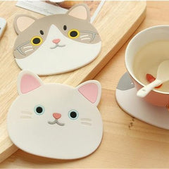 Cat Head Drink Silicone Coasters (6pcs)