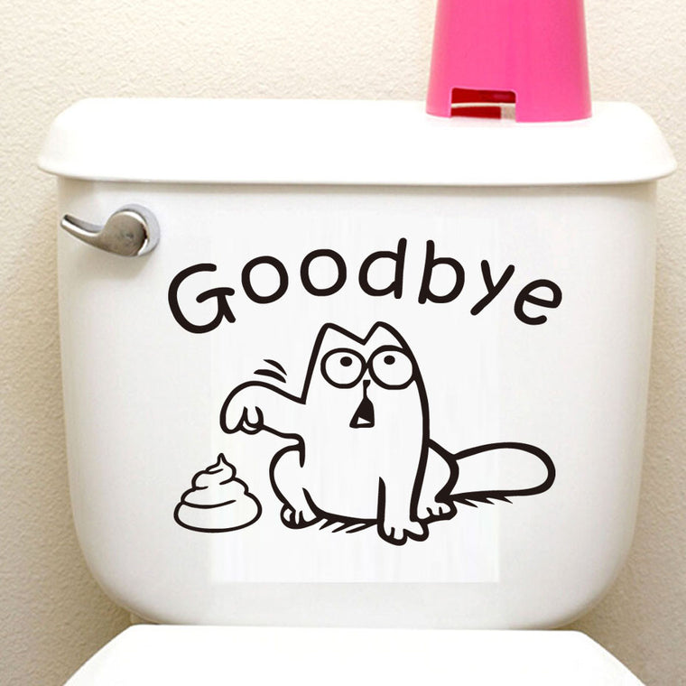 Funny Cat Toilet Seat Sticker