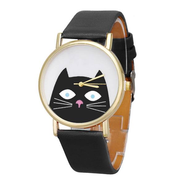 Cat Face Leather Band Watch