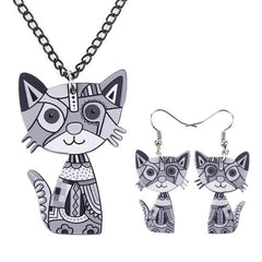 Acrylic Cat Necklace and Earrings Set