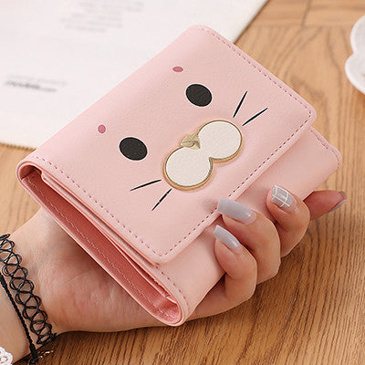 Adorable Cat Face Short Wallet