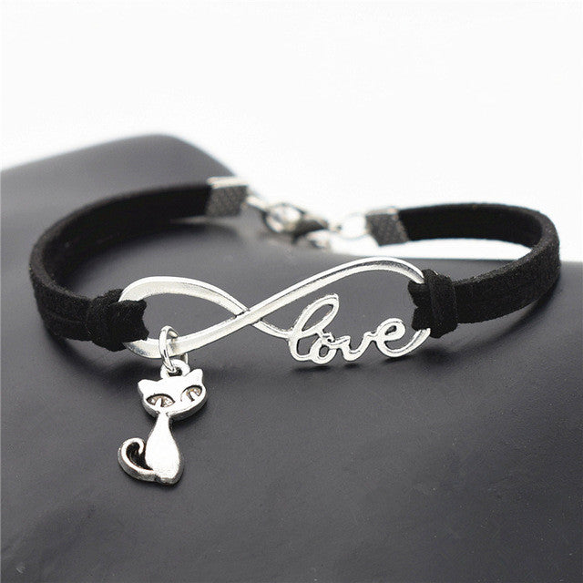 Antique Silver Cat Charms Pendant Leather Bracelets