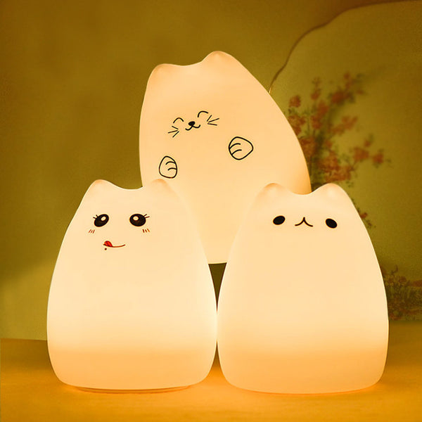 Cute Cat Color Changing Bedtime Lamp