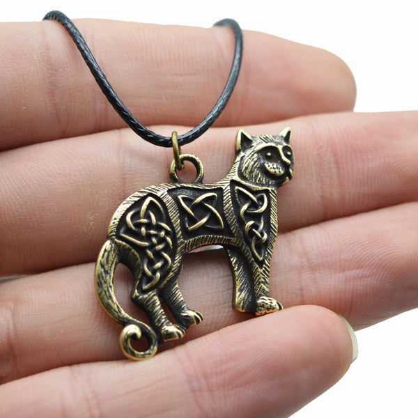 Celtic Cat Pendant Necklace