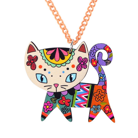 Long Chain Acrylic Cat Pendant Necklace