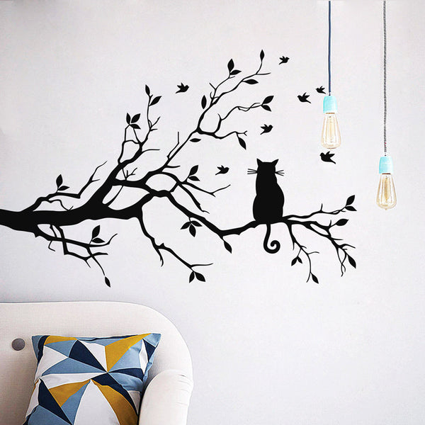 Cat on A Long Branch of Tree Wall Sticker