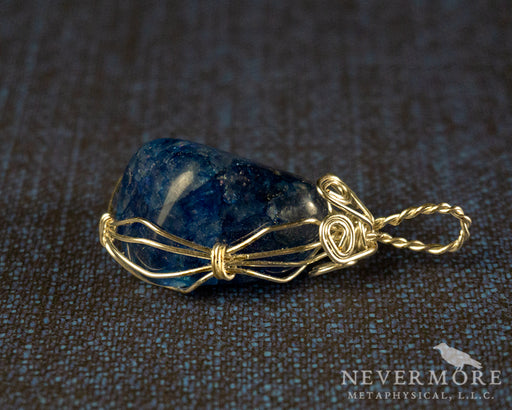 Blue Crackle Quartz Wire Wrapped Gemstone Pendant - The Nevermore Coven