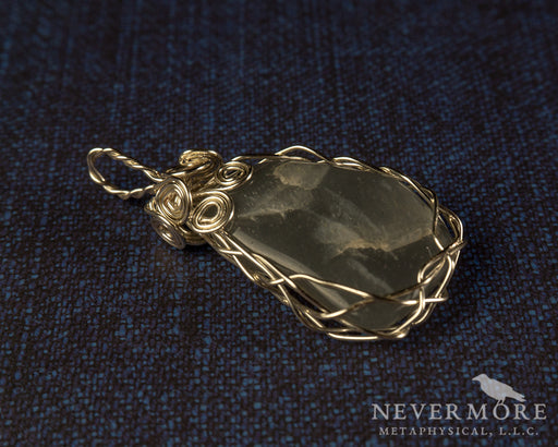 Black Moonstone Wire Wrapped Gemstone Pendant - The Nevermore Coven