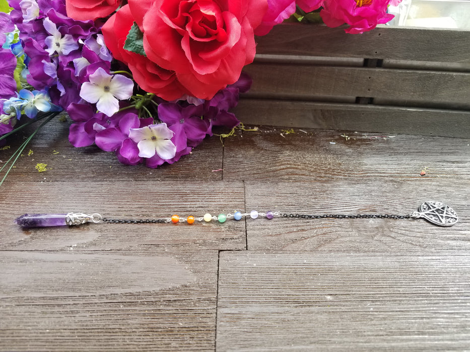 Custom Amethyst Seven Chakra Pendulum - The Nevermore Coven