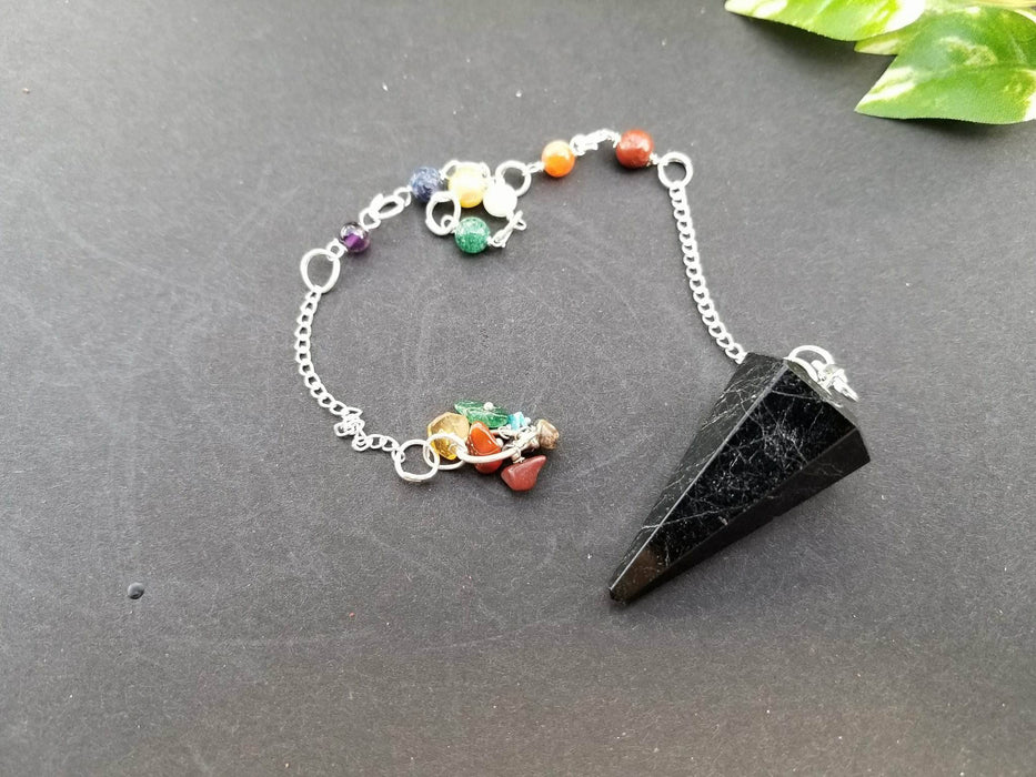 Obsidian Seven Chakra Pendulum - The Nevermore Coven