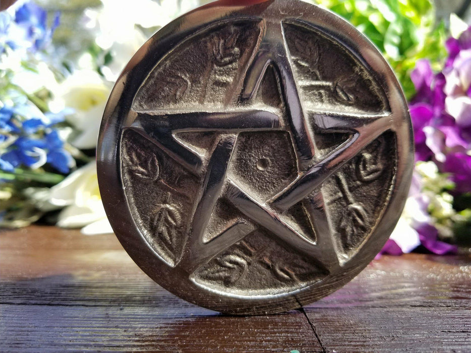 Pewter Pentacle Altar Tile - The Nevermore Coven
