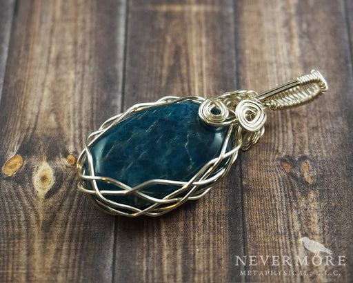 Apatite Wire Wrapped Gemstone Pendant - The Nevermore Coven