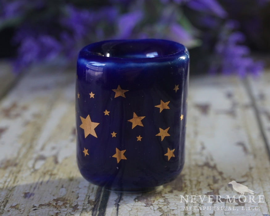 Cobalt Star Chime Candle Holder Pair - The Nevermore Coven
