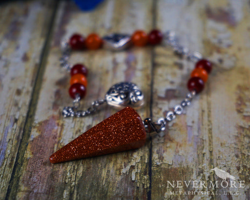 Red Goldstone Pendulum - The Nevermore Coven