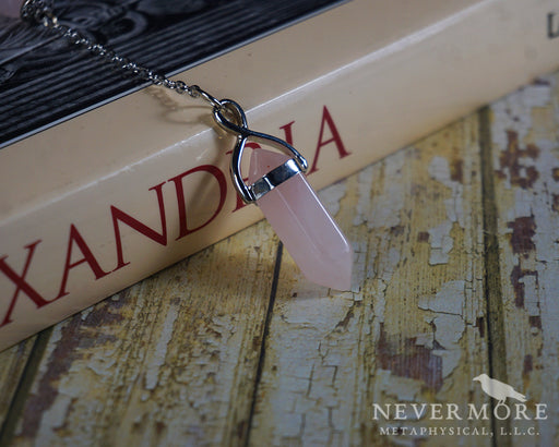 Rose Quartz Moon Pendulum - The Nevermore Coven