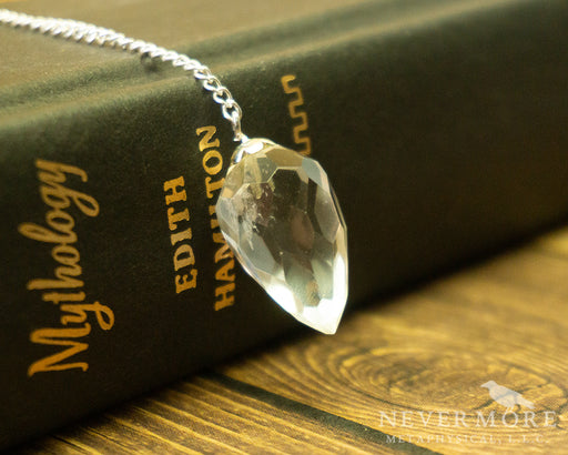 Faceted Clear Quartz Pendulum - The Nevermore Coven
