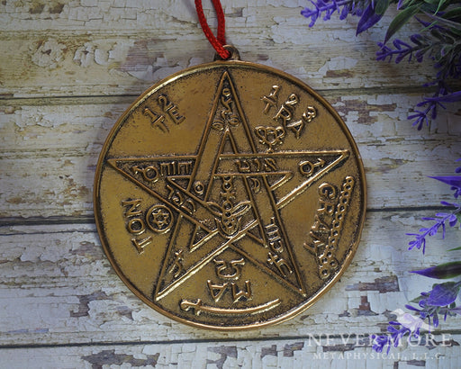 Gold Kabbalah Pentacle Wall Tile - The Nevermore Coven