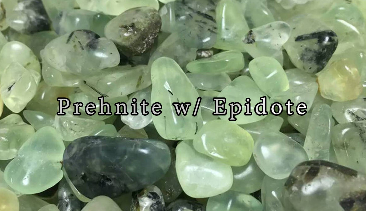 Prehnite with Epidote Tumbled Gemstones - The Nevermore Coven