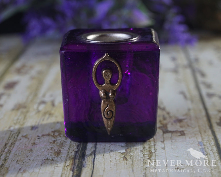 Purple Glass Goddess Chime Candle Holder - The Nevermore Coven
