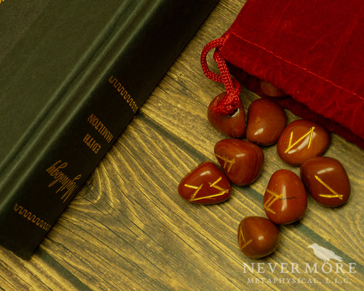 Elder Futhark Red Jasper Runes - The Nevermore Coven