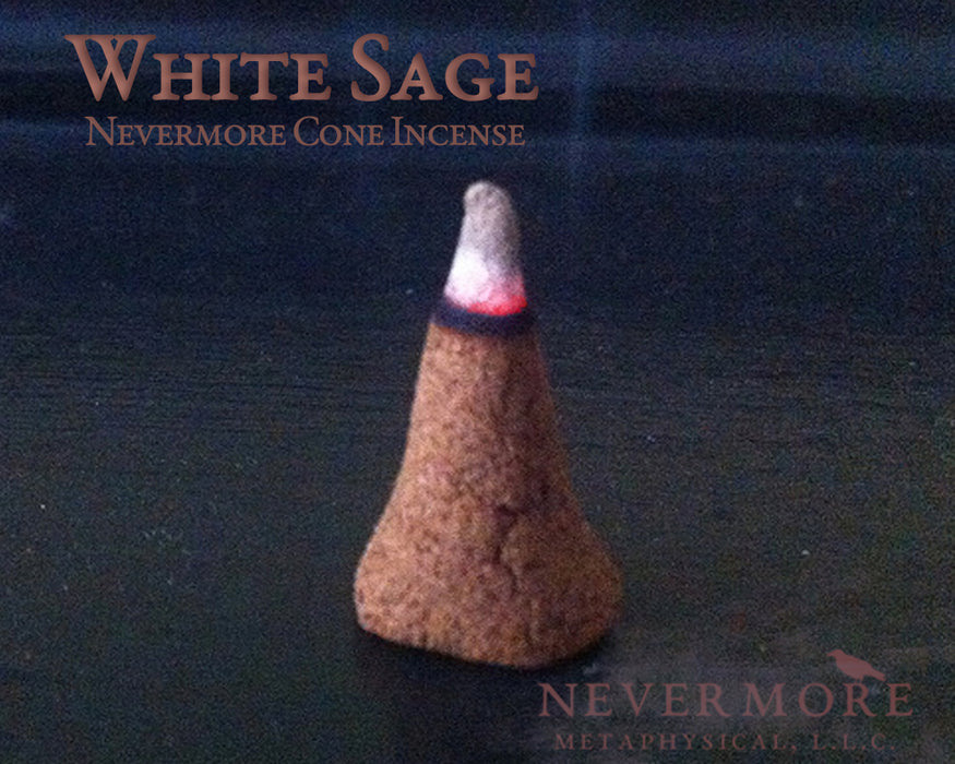 White Sage Incense | All Natural Cone Incense | Nevermore Metaphysical | Aromatherapy