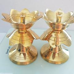 Small Kamla design Lamp/Deep/ Diya Stand Set of 2 for pooja / Traditional gift