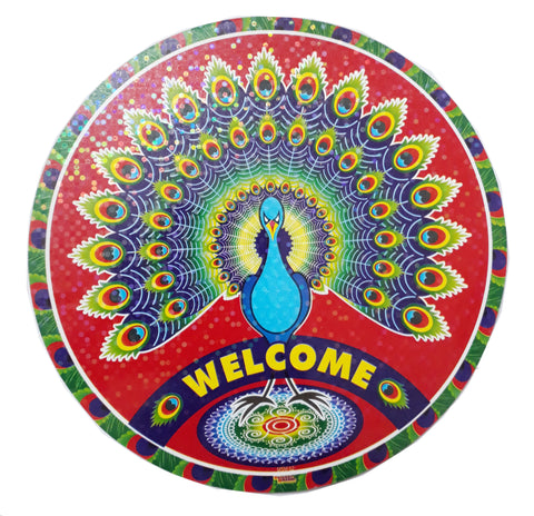 Peacock Shape colorful Round Welcome Stickers Big Size