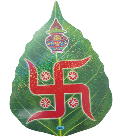 Swastic Leaf Shape Sticker for Prayer Room decoration or Religious gift Item Set of 2
