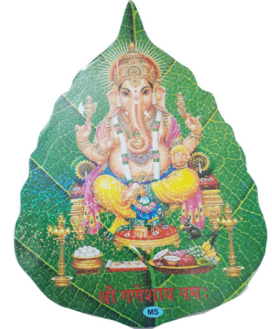 Ganesha Leaf Shape Sticker for Prayer Room decoration or Religious gift Item