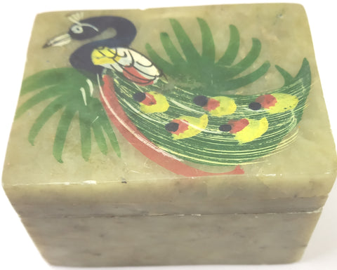 Small Stone Box  with Peacock Picture