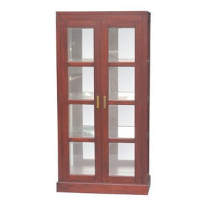 SONOMA Los Angeles Mirror Back Teak Glass Display Cabinet WTC288DC-200-MR-PNM