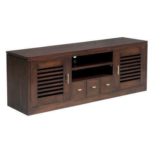 San Diego Teak TV Console 160cm  Entertainment Unit in Mahogany or Chocolate WTC288SB-203-HSR-FL