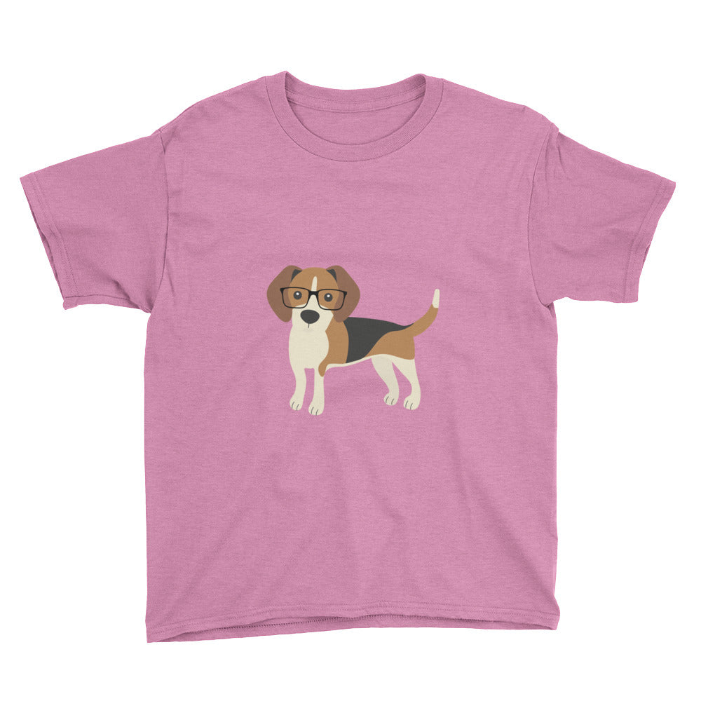 heather hot pink kids' beagle tee