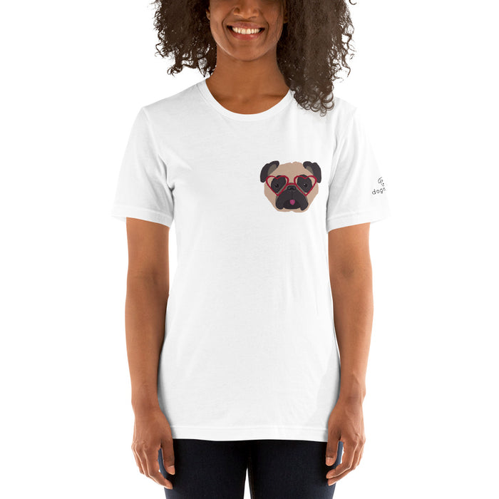 Pug with heart shaped glasses - Unisex