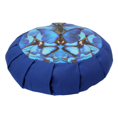 Blue Butterfly Mandala Lotus Pillow