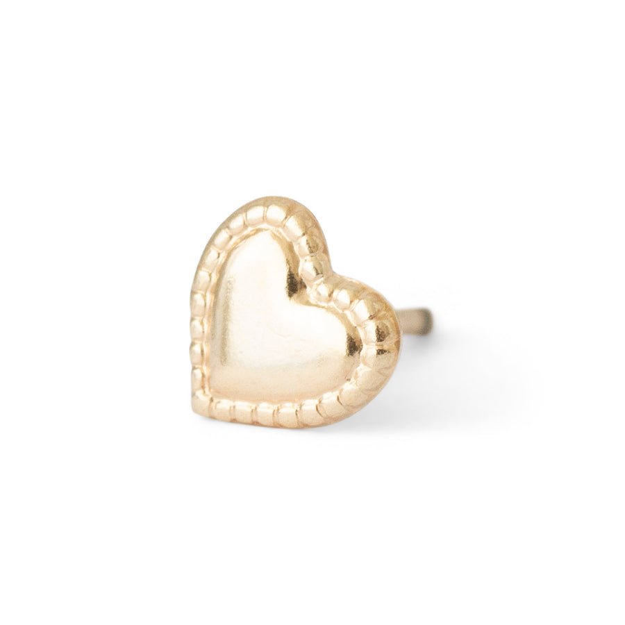 Gold filled heart stud with ornated edge