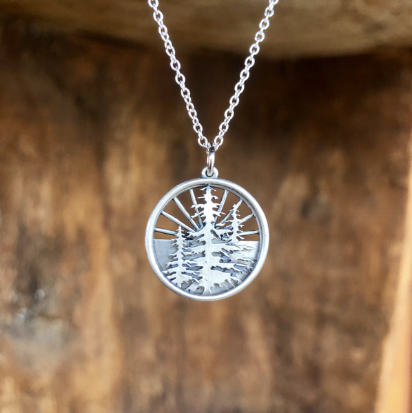 Sunrise Three Pine Necklace