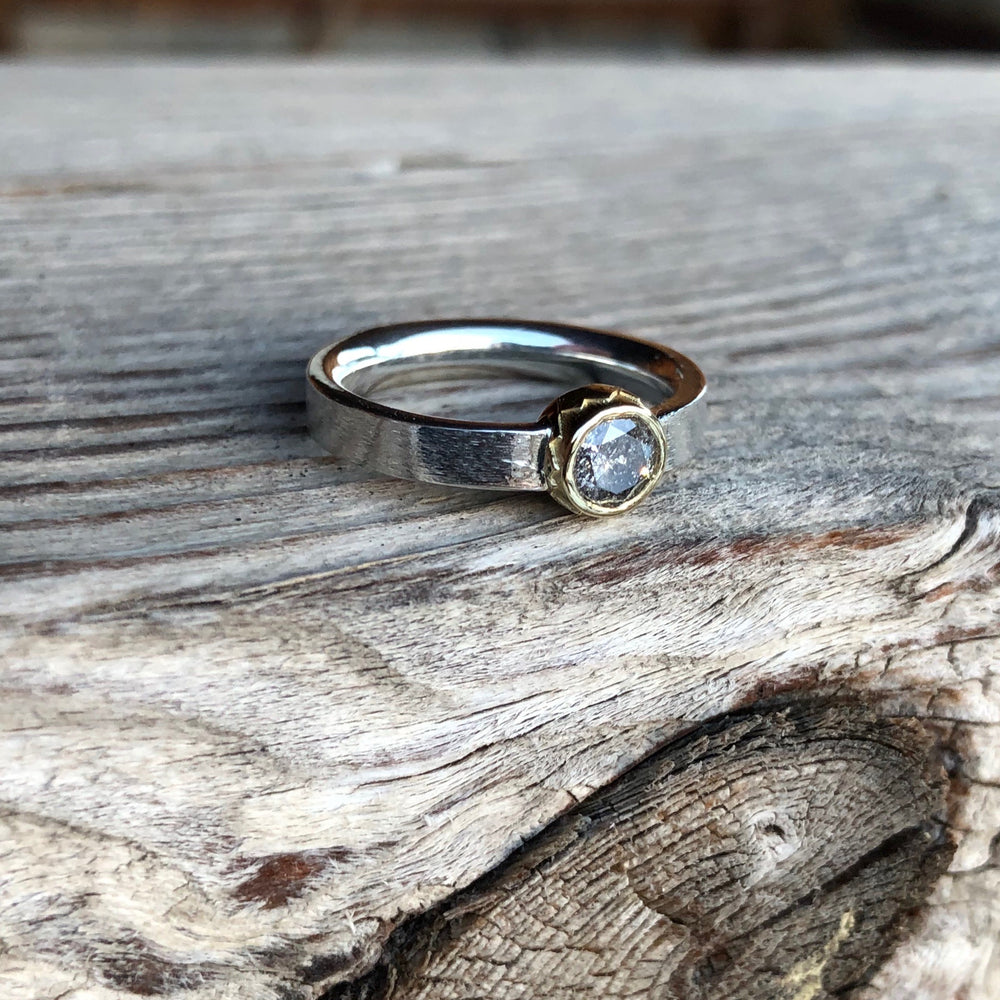 Salt and Pepper Diamond Mountain Ring