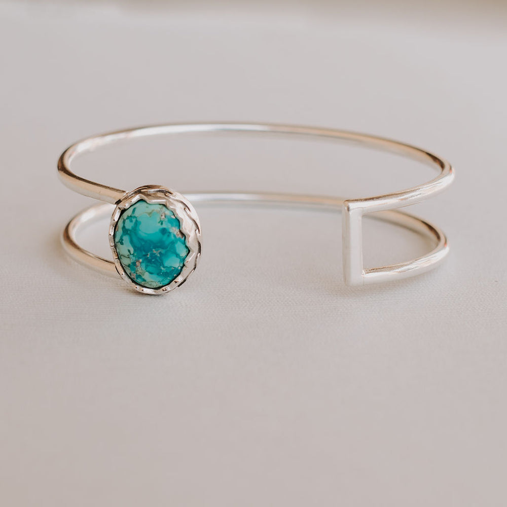 Turquoise in Mountains and Waves Double Cuff