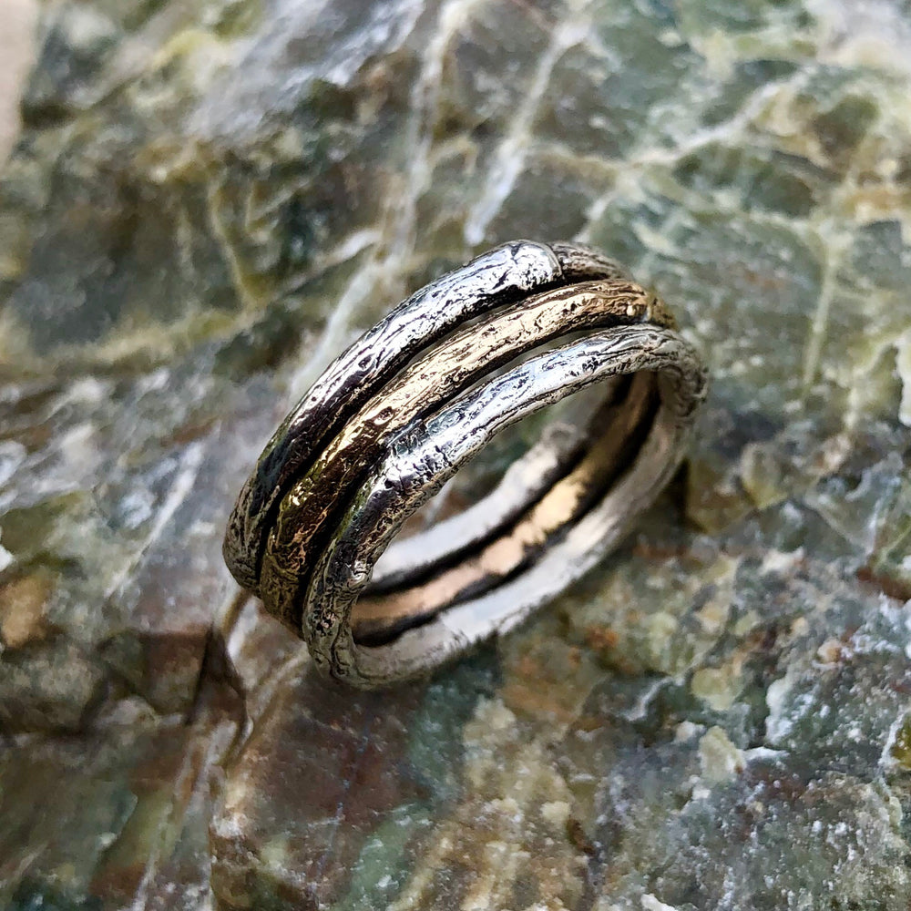 Silver and Gold Branch Ring