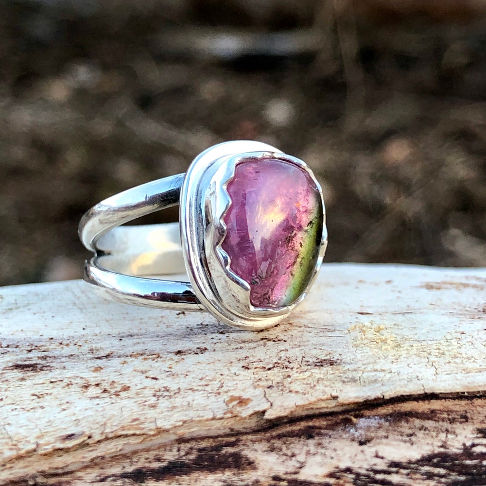 Watermelon Tourmaline Mountain Bezel Ring