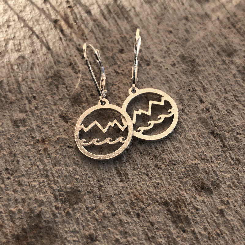 Mountain and wave earrings