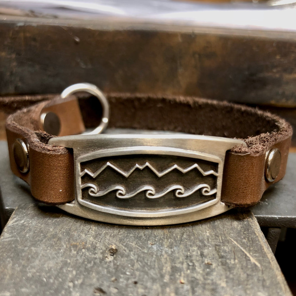 Mountain Wave Leather Bracelet