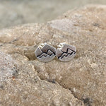 Mountain and wave stud earrings in sterling silver