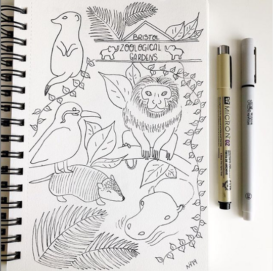 Sketchbook Spread - Bristol Zoo