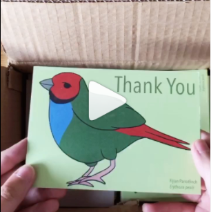 Unboxing new thank you cards