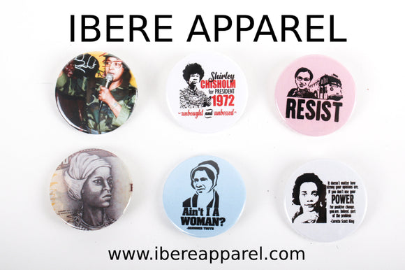 Black Women In History - Button Badge Set - Ibere Apparel