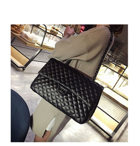 PU Leather Satchel Diamond Lattice Large Bag Women Black Shoulder Crossbody Tote