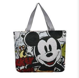 Disney Women Handbags Fashion Cartoon Plush Mickey Mouse Bags Shopping Foldable