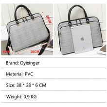 "Load image into Gallery viewer, Women laptop 14"" Briefcase Bag Leather Fashion Zipper business designer Handbag"